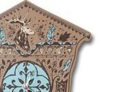SALE FREE SHIP Seasonal Cuckoo Clock, Brown Wood with Deer Fish Screenprint, Bavarian Wall Clock (His)