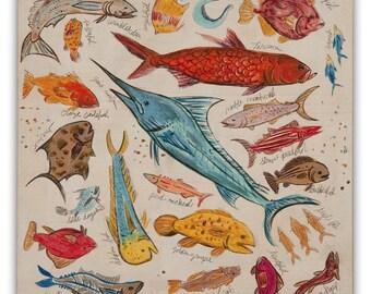 Ocean Fish Small Print on Wood Block