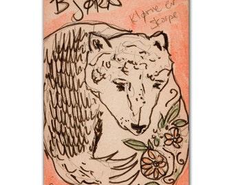 Bear Illustration Print on Wood Block