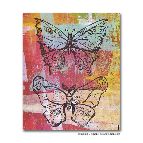 Butterflies, Panel Painting Original Screenprint on Wood
