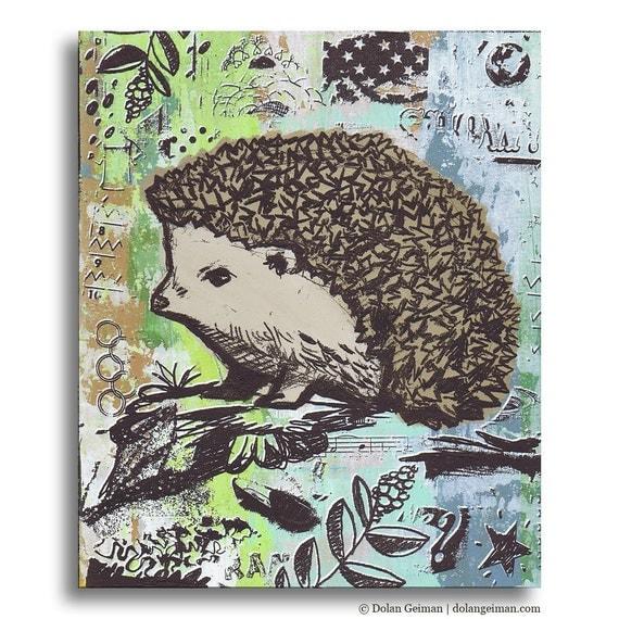 Hedgehog, Cute Panel Painting on Wood