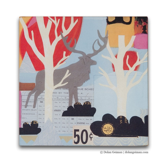 Woodland Stag with Antlers in Forest Small Art Print on Wood