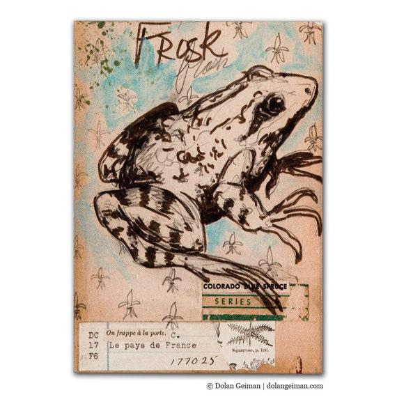 Frog Illustration Print on Wood Block