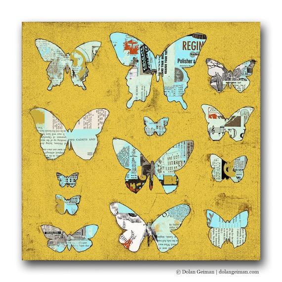 On SALE Butterflies: Mustard Yellow DG MINI, Small Art Print on Wood