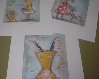 Three Print Set of my original, mixed media paintings - She Believed Series