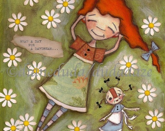 Print of my original folk art childrens painting - Daydream - 8 x 10