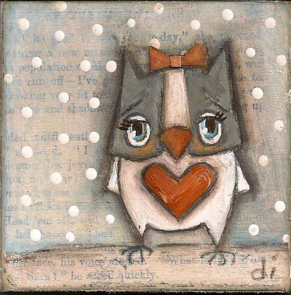 Original Mini Painting on wood block - Little Owl - Free U.S. shipping