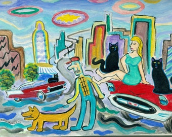 ORIGINAL PAINTING, 3 Black Cats and Barefoot Girl sitting on the Hood of a Dodge, no 57 Chevy, by DM Laughlin