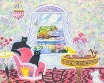 ORIGINAL PAINTING, 2 Black Cats and a Poodle with Fishing Boats and Purple Coneflowers and a Deco Girl Table, by D M Laughlin