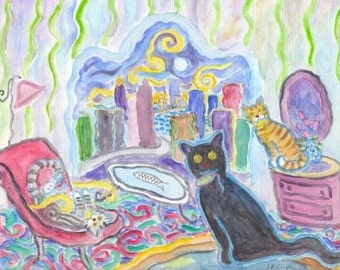ORIGINAL PAINTING, Jaded Black Cat with Too Many Catnip Mice, by D M Laughlin