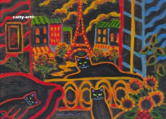 ORIGINAL PAINTING, Folk Art Graffiti, 3 Black Cats on Vacation in Paris, relaxing After Dark, by D M Laughlin