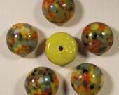 18 pcs. vintage yellow confetti cabochons 9-10mm - f1686