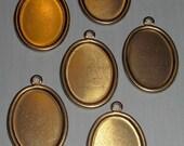 18 pcs. brass 18x13mm cabochon settings - f1864