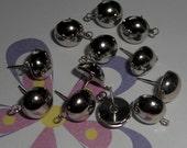 36 pieces nickel silver post earrings with loop - f1958