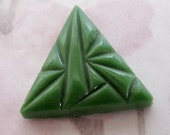 2 pcs. vintage glass art deco green triangle cabochons 18mm - f2583