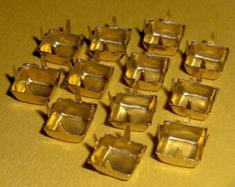 36 pcs. brass square rhinestone settings 8mm - f395