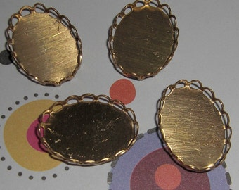 12 pcs. brass lace edge cabochon settings 18x13mm - f1948