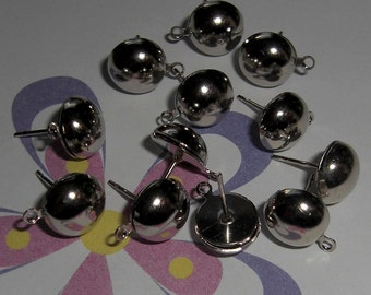 36 pieces nickel silver post earrings with loop - f1958
