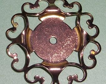 3 pcs. vintage gold tone filigree 18mm cab pendant setting - f1990