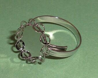 3 pcs. vintage silver tone adjustable ring blank w 10x12 setting - f2164