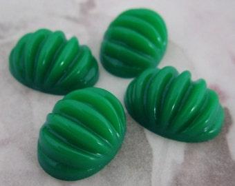 12 pcs. vintage green ridged plastic cabochons 18x13mm - f2336