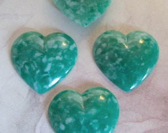 12 pcs. vintage green speckled heart cabochons 19x19mm - f2485