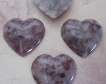 12 pcs. vintage purple mottled heart plastic flat back cabochons 19x19mm - f2489