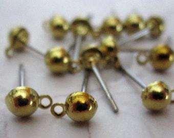 36 pcs. vintage brass 4mm ball w loop earring findings - f2510