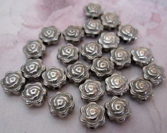 25 pcs. silver plate resin rose flower beads 7x3mm - f2514
