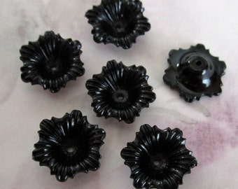 30 pcs. vintage plastic black flower beads 16mm - r01
