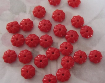 25 pcs. vintage red flower beads 8x4mm - f2586