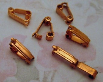 18 pcs. vintage copper coated fold over clasps 11x3mm - f2601