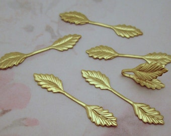 30 pcs. raw brass dual leaf findings / glue on bails stampings- f2605