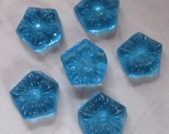 18 pcs. vintage painted glass blue flower sew on cabochons 7mm - f2667