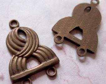 6 pcs. casted brass 2 strand necklace ends 15x15mm - f2680