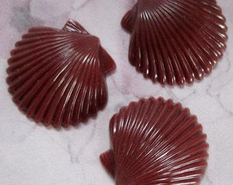 9 pcs. vintage brown plastic seashell cabochons 19x18mm - r140