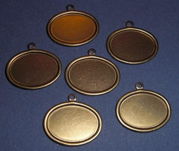 18 pcs. brass 18x13mm cabochon settings - f1865