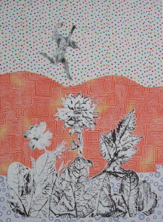 New Emotion OOAK Collage Orange Dancer Flowers Black and White