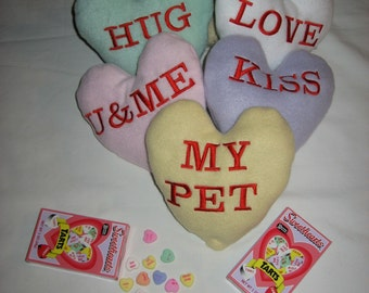 PERSONALIZED CUSTOM Conversation heart Squeak toy for your dog for Valentines