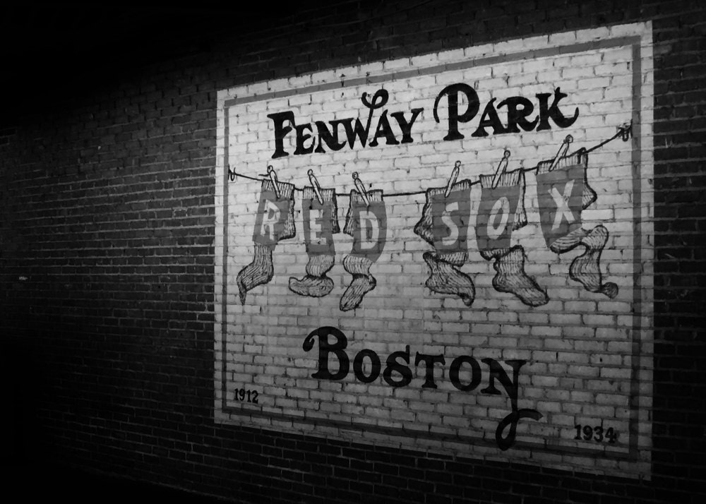 Fewnway Park Mural 5x7 Black and White Photographic Print