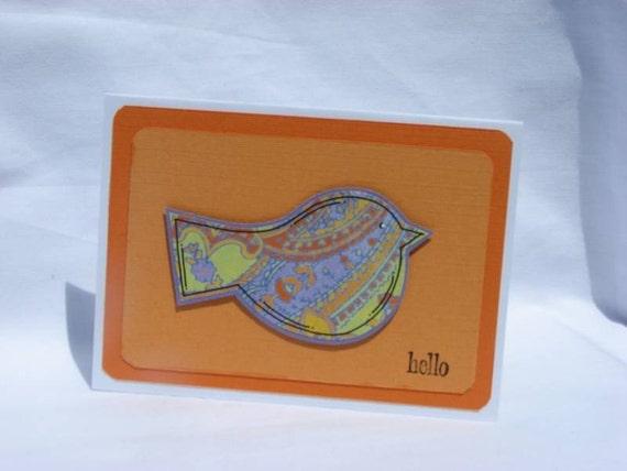 Little Bird Hello Handmade Greeting Card SALE