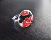 Red and White Cherry Blossoms  Dime Ring - Adjustable - Repurposed
