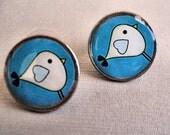 Little Chick Vintage Dime Stud Earrings blue back