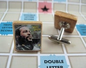 Marvin Gaye Vintage Scrabble Tile Cuff Link Set - eco gift recycled repurposed