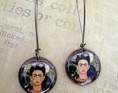 Frida Kahlo Penny Earrings//  recycled eco friendly - bohemian style jewelry - monkeys