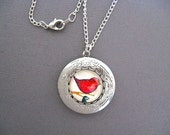 Silver Locket Necklace - Bird on a Branch -Red Bird Necklace Locket - Very Shabby Chic - FREE 26 inch Steel Chain Included