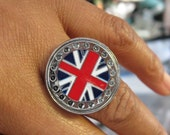 United Kingdom Flag Ring - Royal Crown - England Flag -London Flag - Patriot Queen Flag Ring