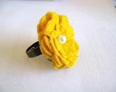Mustard Yellow Flower Ring - Felted Fleece Pin Wheel Ring - Adjustable Ring band sizes 5-9
