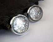 Be Dazzling - Silver Shimmer Post Stud Earrings - Glitter Collection - Glitter Earrings -