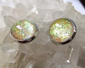 Be Dazzling - Gold Shimmer Post Stud Earrings - Glitter Collection - Gold Multi Colored